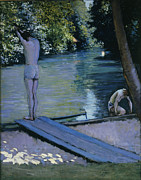 Swimmers Paintings - Bather about to plunge into the River Yerres by Gustave Caillebotte