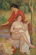 Bathing Paintings - Bather and Maid by Pierre-Auguste Renoir