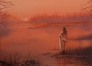 Romanticism Posters - Bather at Sunrise Poster by Tom Shropshire
