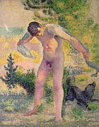 Nudes Paintings - Bather drying himself at St Tropez by Henri-Edmond Cross