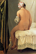 Woman Bathing Framed Prints - Bather of Valpincon Framed Print by Jean-August-Dominique Ingres