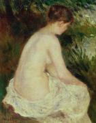 Woman Bathing Framed Prints - Bather Framed Print by Pierre Auguste Renoir