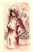 Fantasy Drawings - Bather by Rachel Christine Nowicki
