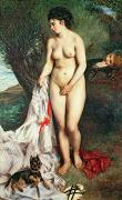 Exposed Art - Bather with a Griffon dog by Pierrre Auguste Renoir