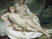 Red Bouquet Paintings - Bathers or Two Nude Women by Gustave Courbet