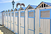 Cabanas Framed Prints - Bathhouses in the Mediterranean Framed Print by Joana Kruse