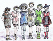 Fashion Plates Prints - Bathing Beauties Print by Mel Thompson
