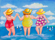 Swimsuits Pastels Posters - Bathing Beauties Poster by Pat Olson