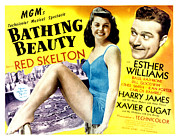 Skelton Framed Prints - Bathing Beauty, Esther Williams, Red Framed Print by Everett