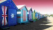 Roz Mcquillan Prints - Bathing Boxes Brighton Beach Print by Roz McQuillan