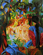 Macke Posters - Bathing Girls Poster by Stefan Kuhn