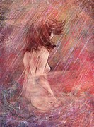 Contemplative Digital Art Metal Prints - Bathing in the rain Metal Print by Rachel Christine Nowicki