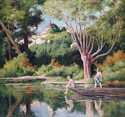 Reflection On Calm Pond Prints - Bathing Print by Maximilien Luce