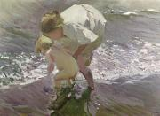 Bathing Posters - Bathing on the Beach Poster by Joaquin Sorolla y Bastida