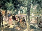 1869 Framed Prints - Bathing on the Seine or La Grenouillere Framed Print by Pierre Auguste Renoir