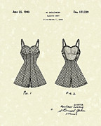Patent Drawing Framed Prints - Bathing Suit 1940 Patent Art Framed Print by Prior Art Design