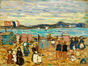 American School Framed Prints - Bathing Tents St. Malo Framed Print by Maurice Brazil Prendergast