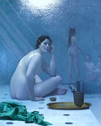 Harem Metal Prints - Bathing Women Metal Print by Pg Reproductions