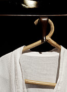 Coat Hanger Framed Prints - Bathrobe Hanging Around Bamboo Hanger Framed Print by Kantilal Patel