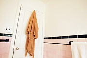 Bathrobe Photos - Bathrobe Hanging in a Bathroom by Skip Nall