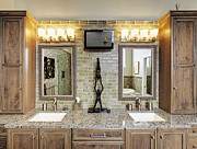 Counter Top Posters - Bathroom Counter With Vanity Lightin Poster by Skip Nall