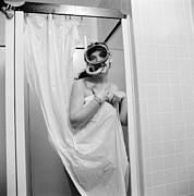 Shower Curtain Metal Prints - Bathroom Diving Metal Print by Sherman
