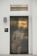 Nude Photographs Posters - Bathroom Door Nude Poster by Harry Spitz