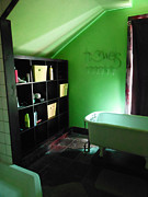 Linoleum Photo Posters - Bathroom in Green Poster by Beebe  Barksdale-Bruner