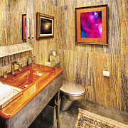 Fixtures Posters - Bathroom Interior With a Wood Grain Decor Poster by Skip Nall