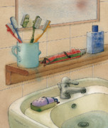 White Drawings - Bathroom by Kestutis Kasparavicius