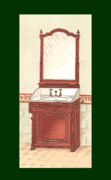 Mahogany Mixed Media Posters - Bathroom Picture Wash stand one Poster by Eric Kempson