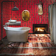 Hotel-room Prints - Bathroom Retro Style Print by Setsiri Silapasuwanchai