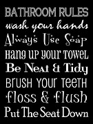 Bathroom Wall Art Posters - Bathroom Rules Poster Poster by Jaime Friedman