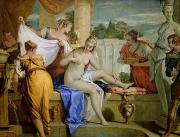 Jewellery Painting Framed Prints - Bathsheba Bathing Framed Print by Sebastiano Ricci