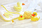 Duckie Prints - Bathtime for baby Print by Sandra Cunningham