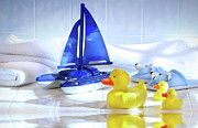 Duckie Prints - Bathtime fun  Print by Sandra Cunningham