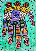 Hamas Paintings - Batik Blue Sea Hamsa by Sandra Silberzweig