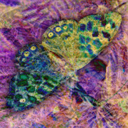 Color Purple Prints - Batik Butterfly Print by Barbara Berney