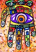 Hamas Paintings - Batik Coral City Hamsa by Sandra Silberzweig