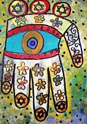 Hamas Paintings - Batik Ivory Flower Hamsa by Sandra Silberzweig