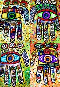 Hamas Paintings - Batik Judaica Hamsa by Sandra Silberzweig