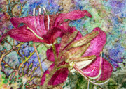Digital Collage Framed Prints - Batik Lilies Framed Print by Barbara Berney