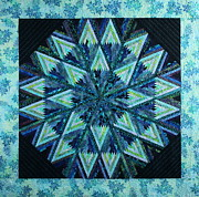 Blue Quilts Tapestries - Textiles Posters - Batik Star Poster by Patty Caldwell