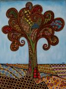 Modern Folk Art Paintings - Batik tree  by Rain Ririn
