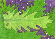 Batik Drawings Posters - Batik Tropical Leaves Poster by Billinda Brandli DeVillez