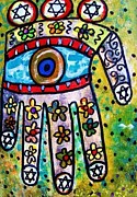 Invitations Paintings - Batik Water Flower Hamsa by Sandra Silberzweig