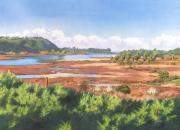 Pacific Ocean Painting Posters - Batiquitos Lagoon Carlsbad California Poster by Mary Helmreich