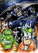 Caricature Mixed Media Framed Prints - Batman 2 Framed Print by Big Mike Roate