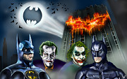 Actors Prints - Batman 89 vs The Dark Knight 08 Print by Vinny John Usuriello