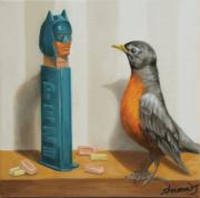 Comics Paintings - Batman and Robin by Judy Sherman